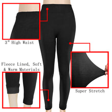 Load image into Gallery viewer, Falari Fleece Lined Cotton Thick Stretch Leggings - Black