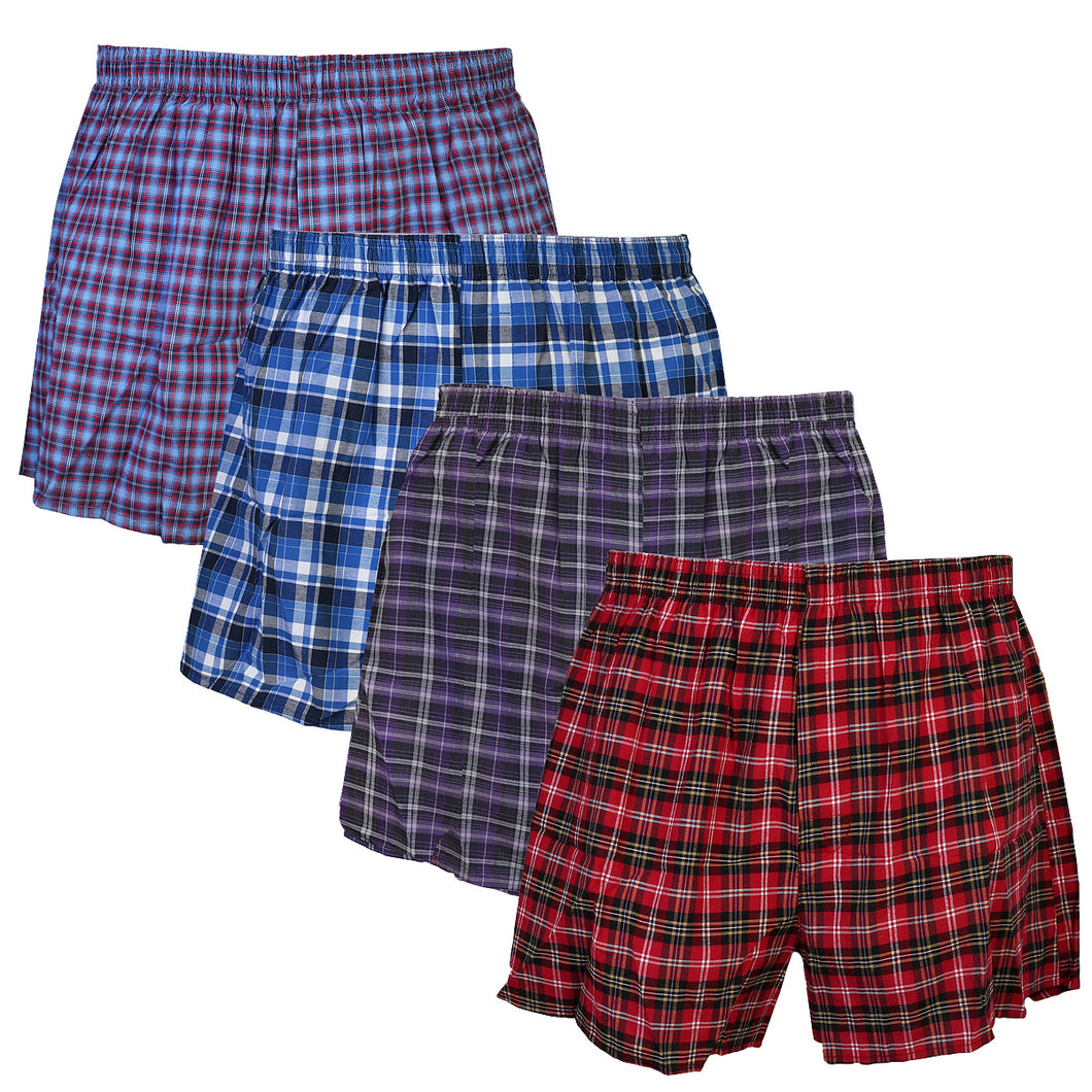 Falari 4-Pack Men's Boxer Underwear 100% Cotton Premium Quality 368-04