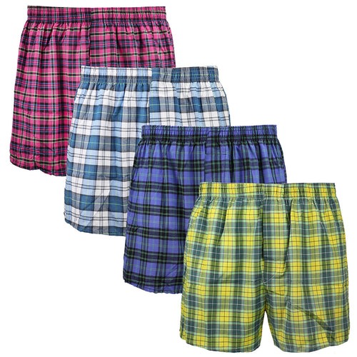 Falari 4-Pack Men's Boxer Underwear 100% Cotton Premium Quality 368-45