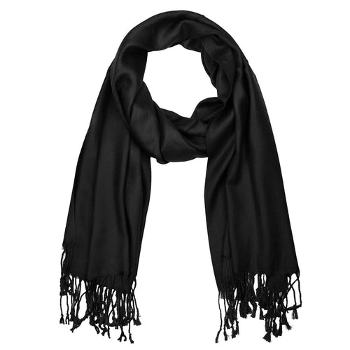 Women's Soft Solid Color Pashmina Shawl Wrap Scarf - Black