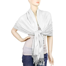 Load image into Gallery viewer, Women's Soft Solid Color Pashmina Shawl Wrap Scarf - White