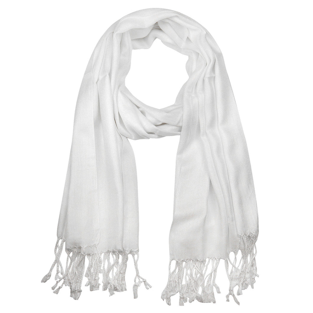 Women's Soft Solid Color Pashmina Shawl Wrap Scarf - White