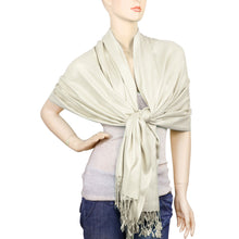 Load image into Gallery viewer, Women's Soft Solid Color Pashmina Shawl Wrap Scarf - Off White