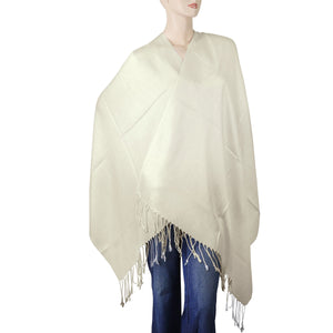 Women's Soft Solid Color Pashmina Shawl Wrap Scarf - Off White