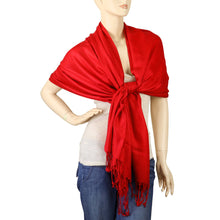 Load image into Gallery viewer, Women's Soft Solid Color Pashmina Shawl Wrap Scarf - Red