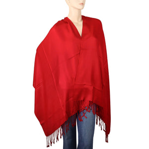 Women's Soft Solid Color Pashmina Shawl Wrap Scarf - Red