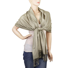 Load image into Gallery viewer, Women's Soft Solid Color Pashmina Shawl Wrap Scarf - Khaki
