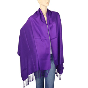 Women's Soft Solid Color Pashmina Shawl Wrap Scarf - Violet Purple
