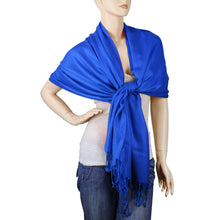 Load image into Gallery viewer, Women's Soft Solid Color Pashmina Shawl Wrap Scarf - Royal