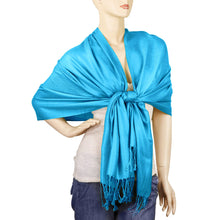 Load image into Gallery viewer, Women's Soft Solid Color Pashmina Shawl Wrap Scarf - Turquoise