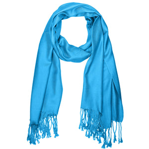 Women's Soft Solid Color Pashmina Shawl Wrap Scarf - Turquoise