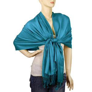 Women's Soft Solid Color Pashmina Shawl Wrap Scarf - Teal Blue