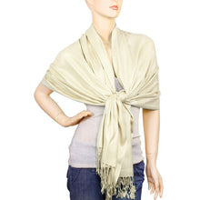 Load image into Gallery viewer, Women's Soft Solid Color Pashmina Shawl Wrap Scarf - Ivory
