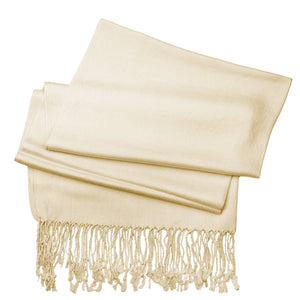 Women's Soft Solid Color Pashmina Shawl Wrap Scarf - Ivory