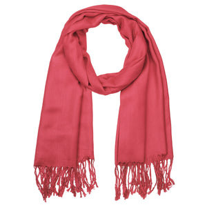 Women's Soft Solid Color Pashmina Shawl Wrap Scarf - Coral Pink