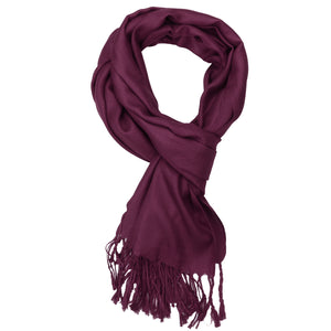Women's Soft Solid Color Pashmina Shawl Wrap Scarf - Wine