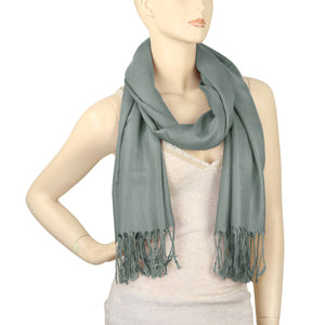 Women's Soft Solid Color Pashmina Shawl Wrap Scarf - Grey