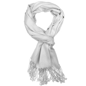 Women's Soft Solid Color Pashmina Shawl Wrap Scarf - Silver Grey