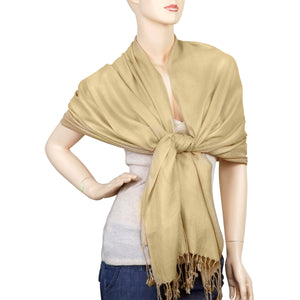 Women's Soft Solid Color Pashmina Shawl Wrap Scarf - Champagne