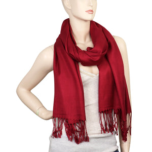 Women's Soft Solid Color Pashmina Shawl Wrap Scarf - Burgundy