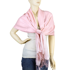 Women's Soft Solid Color Pashmina Shawl Wrap Scarf - Pink