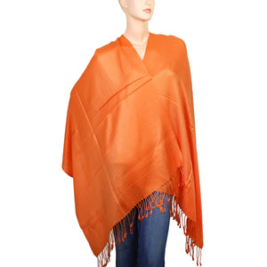 Women's Soft Solid Color Pashmina Shawl Wrap Scarf - Orange