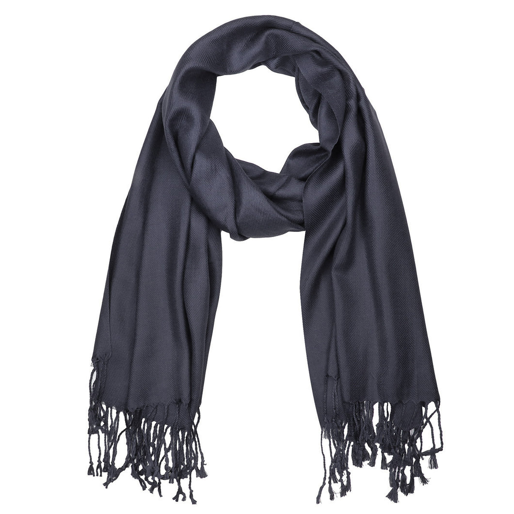 Women's Soft Solid Color Pashmina Shawl Wrap Scarf - Charcoal Grey