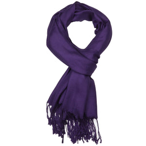 Women's Soft Solid Color Pashmina Shawl Wrap Scarf - Dark Purple