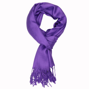 Women's Soft Solid Color Pashmina Shawl Wrap Scarf - Eggplant Purple