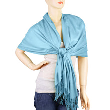 Load image into Gallery viewer, Women's Soft Solid Color Pashmina Shawl Wrap Scarf - Sky Blue