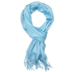 Women's Soft Solid Color Pashmina Shawl Wrap Scarf - Sky Blue