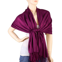 Load image into Gallery viewer, Women's Soft Solid Color Pashmina Shawl Wrap Scarf - Plum