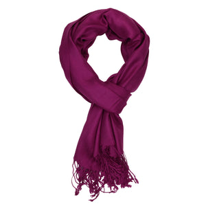 Women's Soft Solid Color Pashmina Shawl Wrap Scarf - Plum