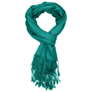 Women's Soft Solid Color Pashmina Shawl Wrap Scarf - Teal Green