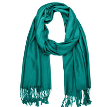 Load image into Gallery viewer, Women's Soft Solid Color Pashmina Shawl Wrap Scarf - Teal Green