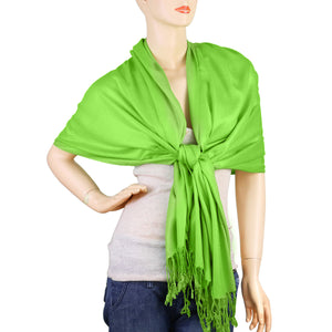 Women's Soft Solid Color Pashmina Shawl Wrap Scarf - Lime Green