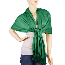 Load image into Gallery viewer, Women's Soft Solid Color Pashmina Shawl Wrap Scarf - Irish Green