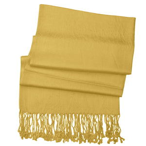 Women's Soft Solid Color Pashmina Shawl Wrap Scarf - Mustard Golden