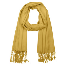 Load image into Gallery viewer, Women's Soft Solid Color Pashmina Shawl Wrap Scarf - Mustard Golden