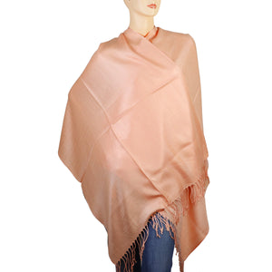 Women's Soft Solid Color Pashmina Shawl Wrap Scarf - Peach