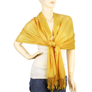 Women's Soft Solid Color Pashmina Shawl Wrap Scarf - Gold