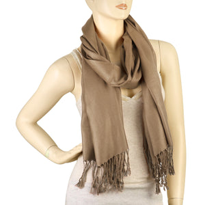 Women's Soft Solid Color Pashmina Shawl Wrap Scarf - Pale Brown