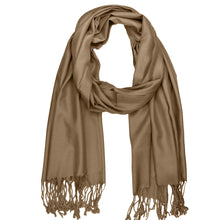 Load image into Gallery viewer, Women's Soft Solid Color Pashmina Shawl Wrap Scarf - Pale Brown
