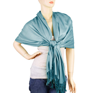 Women's Soft Solid Color Pashmina Shawl Wrap Scarf - Steelblue