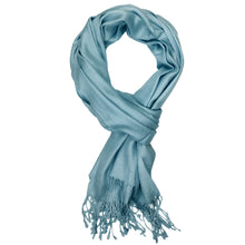 Load image into Gallery viewer, Women's Soft Solid Color Pashmina Shawl Wrap Scarf - Steelblue
