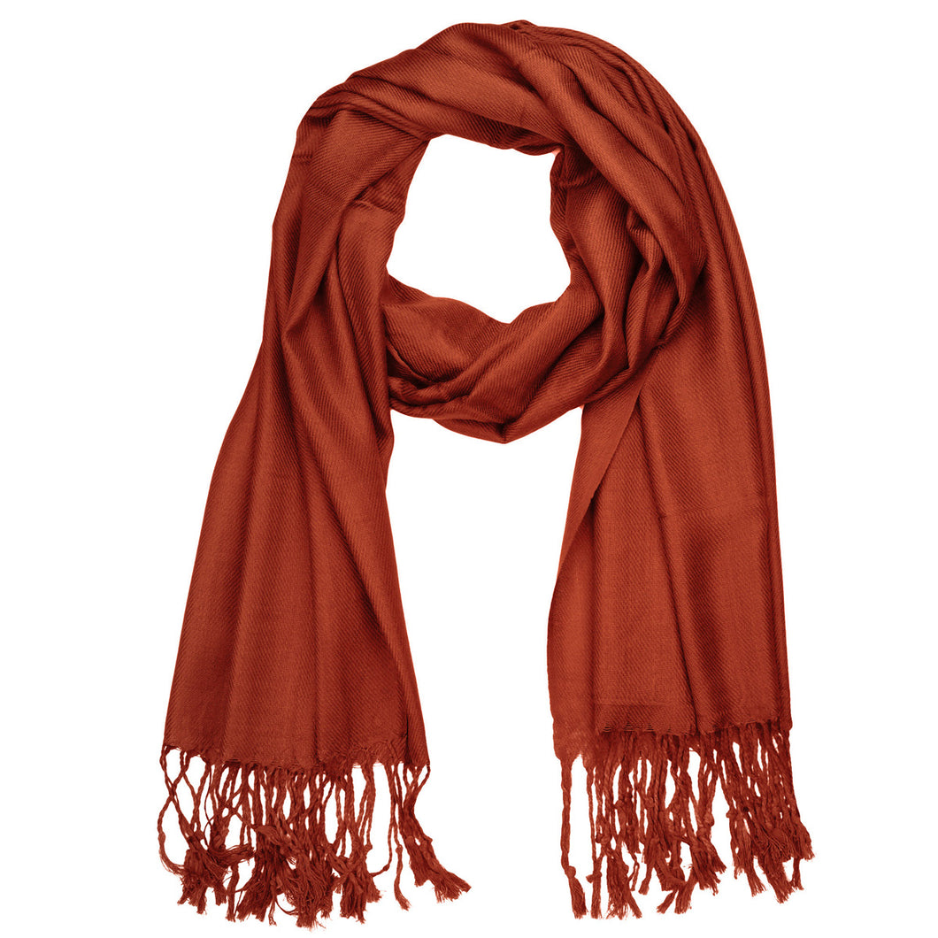 Women's Soft Solid Color Pashmina Shawl Wrap Scarf - Rust