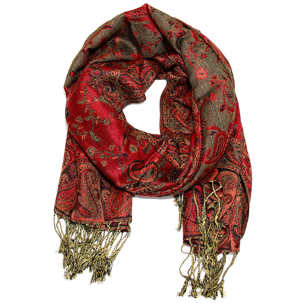 Women's Paisley Pashmina Scarf - Red