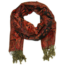 Load image into Gallery viewer, Women's Paisley Pashmina Scarf - Black Rust