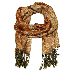 Women's Paisley Pashmina Scarf - Gold Brown