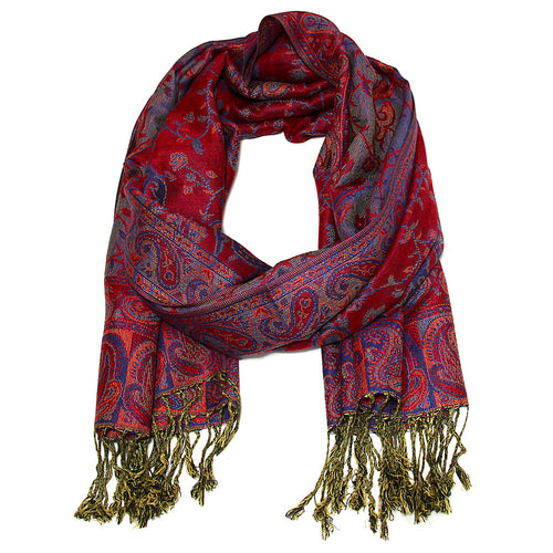 Women's Paisley Pashmina Scarf - Red Blue